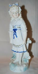 Antique German Bisque Figurine Piano Baby Girl Fence Beautiful Ec