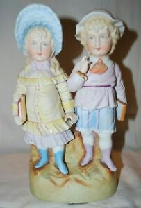 Antique German Bisque Figurine Piano Baby School Children Xl
