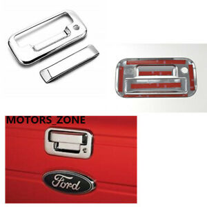 For 04 14 Ford F150 Chrome Tailgate Door Handle Covers 2 Pcs