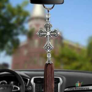 Metal Artificial Crystal Cross Pendant Car Hanging Interior Styling Decoration
