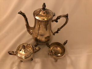 Silver Company International 3 Piece Silver Plated Coffee Tea Set Excellent