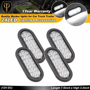 4 Pcs 24 Led Oval White Lamp Back Up Reverse Rear Truck Light 12v Grommet