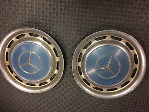 1960 1979 Vintage Mercedes Benz Hubcap Wheel Covers Oem Set Of Two Blue