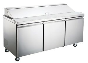 Stainless Scl3 hc 3 Door Sandwich Salad Prep Table Refrigerated Etl nsf Approv