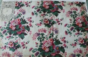 Antique C1870 French Cotton Floral Chintz Fabric Sample Original Tag 11 5 X 18