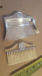 Rare Sterling Silver Crumb Tray Pan Mid Century Modern Lucite Acrylic Brush 925
