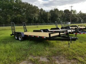 New 7x20 Equipment Trailer 14k Gvwr Tandem Ramps In Stock 7x16 7x18 7x24