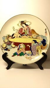 Antique Japanese Aesthetic Period 7 Lucky Gods Hand Painted Charger Signed
