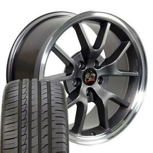 18x9 Rims Tires Fit Mustang Fr500 Style Anthracite Wheels Ironman Tires