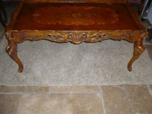 Antique Italian Ornate Coffee Table With Carved Cupids
