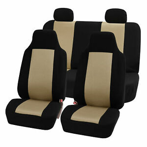 Highback Seat Covers Seat For Car Auto Suv Van Full Set Beige Black