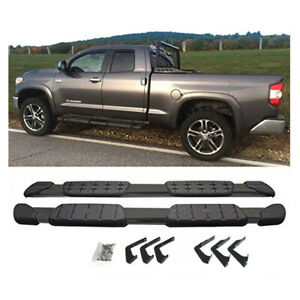 Black 5 Oval Nerf Bars Side Step Oe Style For 07 18 Toyota Tundra Double Cab