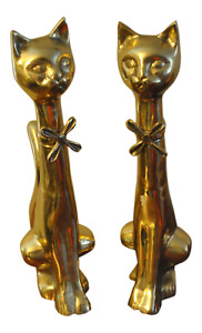 Mid Century Regency Brass Feline Poised Cats With Floral Bow Tie And Raised Tail