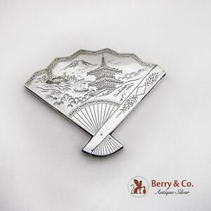 Vintage Compact Fan Form Japanese Landscape Engraved Sterling Silver 1930