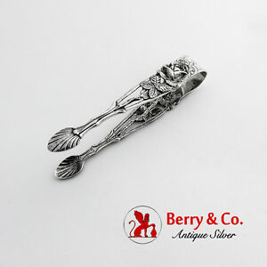 Floral Openwork Sugar Tongs German 835 Silver 1950