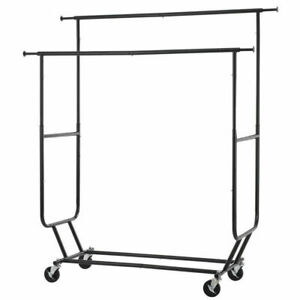 Rolling Commercial Adjustable Double Clothing Rack Black