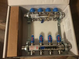 Watts Flowmaster Stainless Steel Manifold 4 branch Fm4s Brand New Radiant