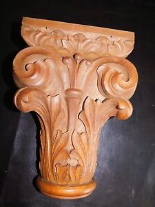 Antique Hand Carved Wooden Corbel Curved Leaf Scroll Ray Pattern Unique