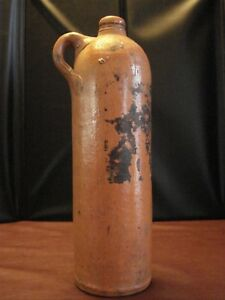Circa 1800s Stoneware Clay Bottle Jug Rare Salt Glaze Marked 11 25 X 3 25 2