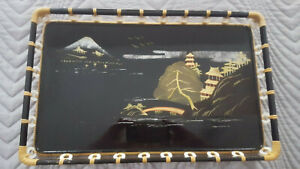Vintage Adidas Japanese Black Lacquer Mother Of Pearl Tray
