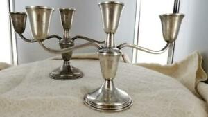 Empire 3 Arm Candlesticks Candelabra Pair 925 Sterling Silver Weighted 5 25