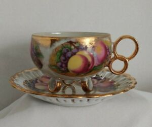 Royal Sealy China Teacup And Saucer Vintage Lattice Fruits Iridescent Japan Euc