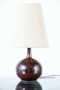 Mid Century Modern Table Lamp Ceramic Drip Glaze Studio Art Vintage Danish Brown