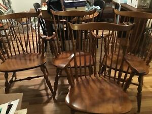 Nichols Stone Set Of 4 Windsor Dining Chairs 4 Captains Armchairs Vintage