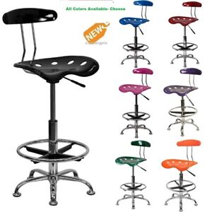 Drafting Bar Stool Chair Adjustable Tractor Seat Pneumatic Chrome Modern New