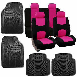 Seat Covers For Car Suv Van Truck With Floor Mat Black Pink