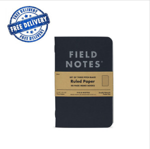 Black Memo Book 3pcs Notebook Field Notes Ruled Pads Scratch Paper Pocket Sized