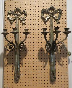 Antique Pair Of Gilt Bronze Brass Bow Tassel Three Arm Wall Candlabra Sconces