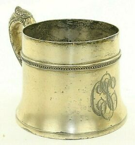 Meriden Silverplate Mug Cup Drinking Marked 241 Usa Antique Quadruple Plate