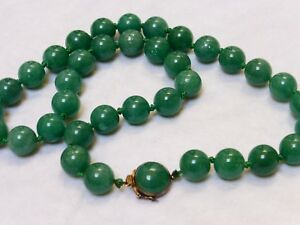 Chinese Vintage Green Jade Bead Necklace Sterling Silver Clasp