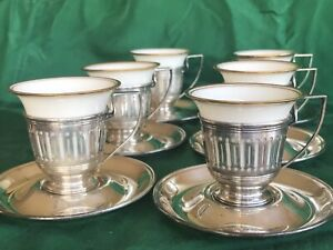 Gorham Sterling Silver Demitasse Cup Holders And Saucers With Lenox China Cups