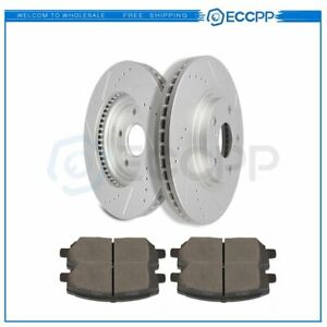 Front Discs Brake Rotors And Ceramic Pads For Toyota Highlander 2001 2007 Drill