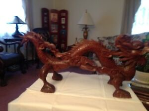 Antique Vietnamese Carved Rosewood 5 Clawed Dragon Appears To Be From Le Dynasty