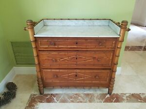 19th Century English Bamboo Chest Of Drawers With Inset Marble Top