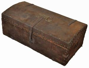 Rustic Antique Continental Early 19c Leather Wood Trunk Lauren Style Furniture