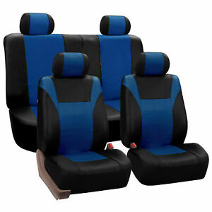 Faux Leather Sport Luxury Front Back Seat Cover For Car Truck Suv Blue