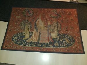 Lady And The Organ Belgian Woven Medieval Unicorn Tapestry Wall Hanging Antique