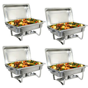 Used 4 Pack Catering Stainless Steel Chafer Chafing Dish Sets 8 Qt Party Pack