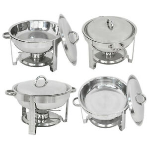 Used 4 Pack Round Chafing Dish 5 Quart Stainless Steel Tray Buffet Catering