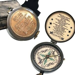 Vintage Tolkien Quotes Copper Compass With Leather Case Maritime Nautical Gift