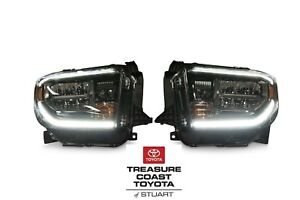 New Oem Toyota Tundra 2018 2019 Trd Sport Pro Black Led Front Headlights 2pc