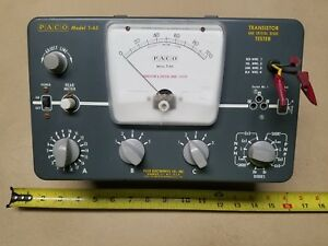 Vintage Paco T 65 Transistor Crystal Diode Tester Analog Meter Test Equipment