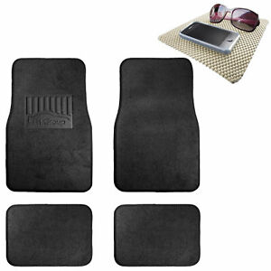 4pc Floor Carpet Mats For Universal Auto Car Suv Van Black W Beige Dash Mat