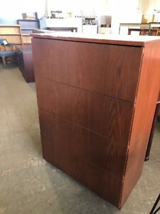 4dr 36 w Lateral File Cabinet In Cherry Finish Wood Veneer W Beige Laminate Top