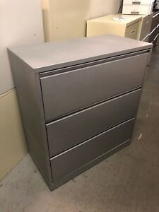 3 Drawer Lateral Size File Cabinet By Herman Miller Meridian W lock