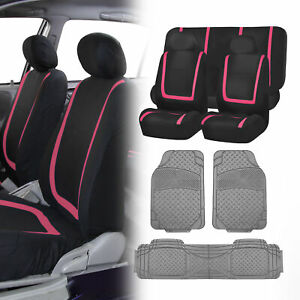 Black Pink Seat Covers Set For Car Suv Auto With Gray Floor Mats